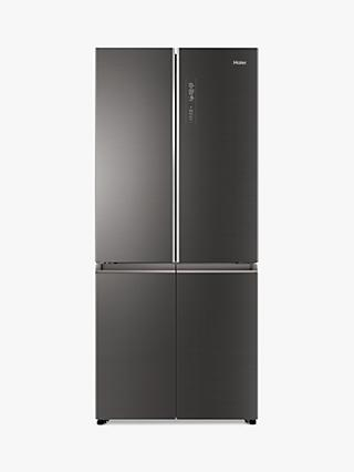 Haier HTF-508DGS7 American-Style Freestanding 70/30 Fridge Freezer, 83cm Wide, A++ Energy Rating, Grey