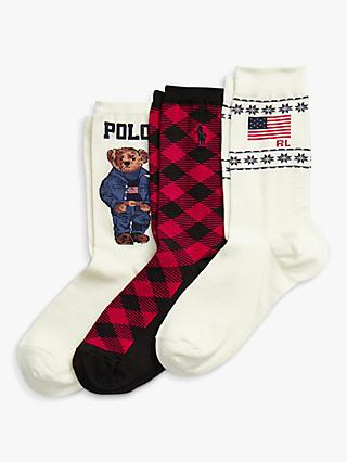 Polo Ralph Lauren Gift Box Cotton Blend Logo Ankle Socks, Pack of 3, Red Tartan Mix