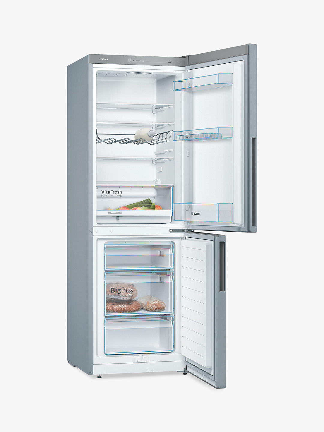 Buy Bosch Serie 4 KGV33VLEAG Freestanding 50/50 Fridge Freezer, A++ Energy Rating, 60cm Wide, Steel Effect Online at johnlewis.com
