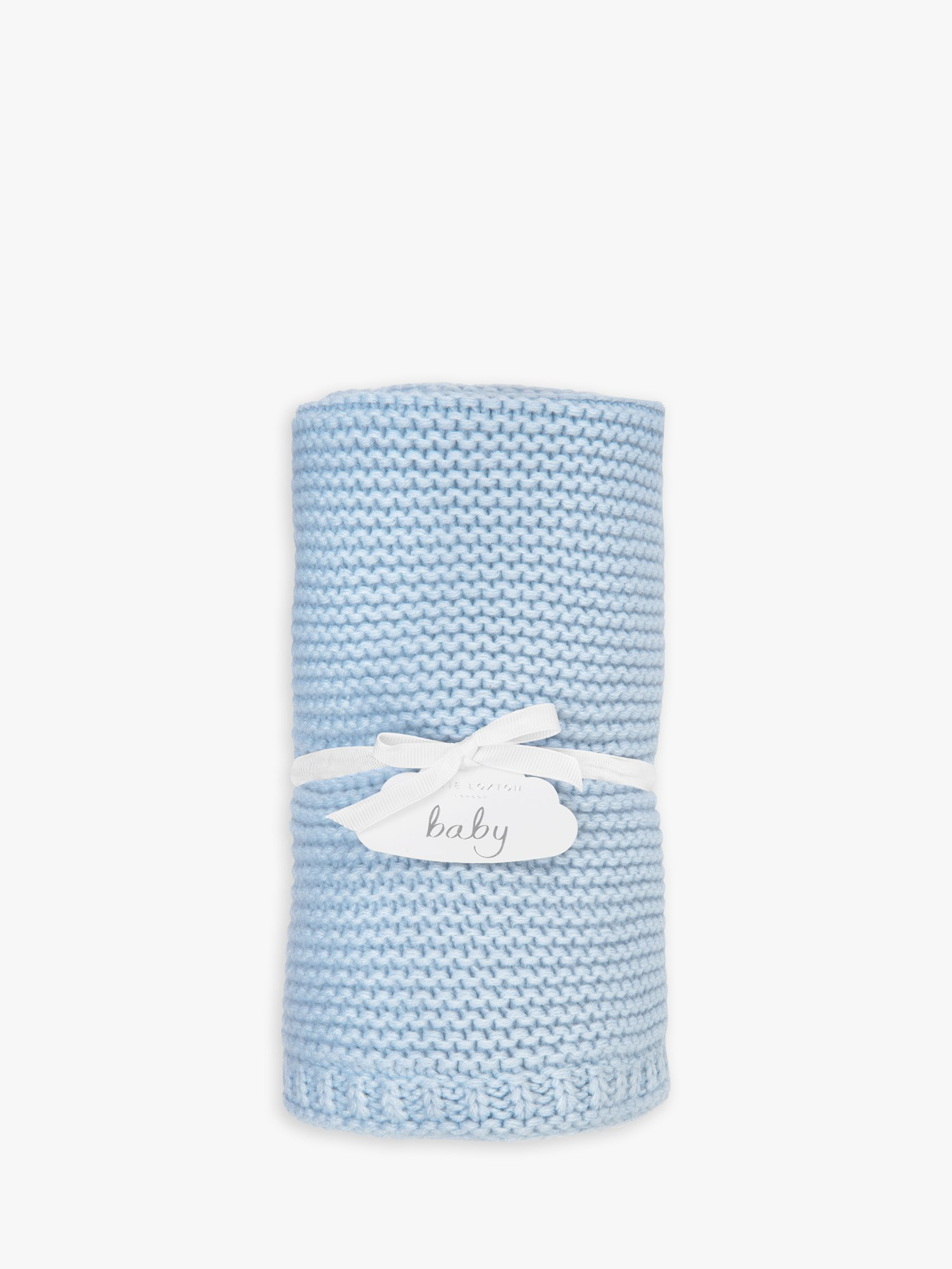 Katie Loxton Knitted Baby Blanket, Blue