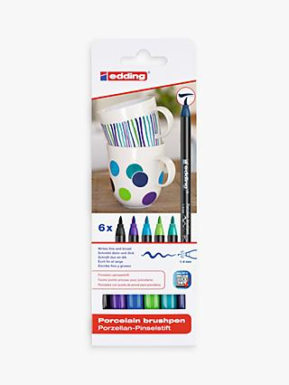 edding Porcelain Brush Pens, Pack of 6, Cool