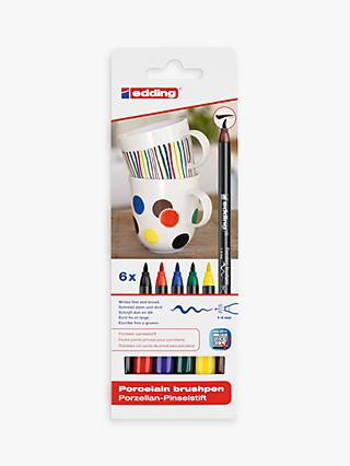 edding Porcelain Brush Pens, Pack of 6, Multi