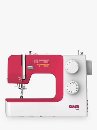Silver 302 Sewing Machine, White