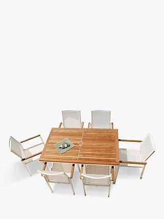 Barlow Tyrie Aura 6-Seat Teak Wood Garden Dining Table & Chairs Set, White/Natural