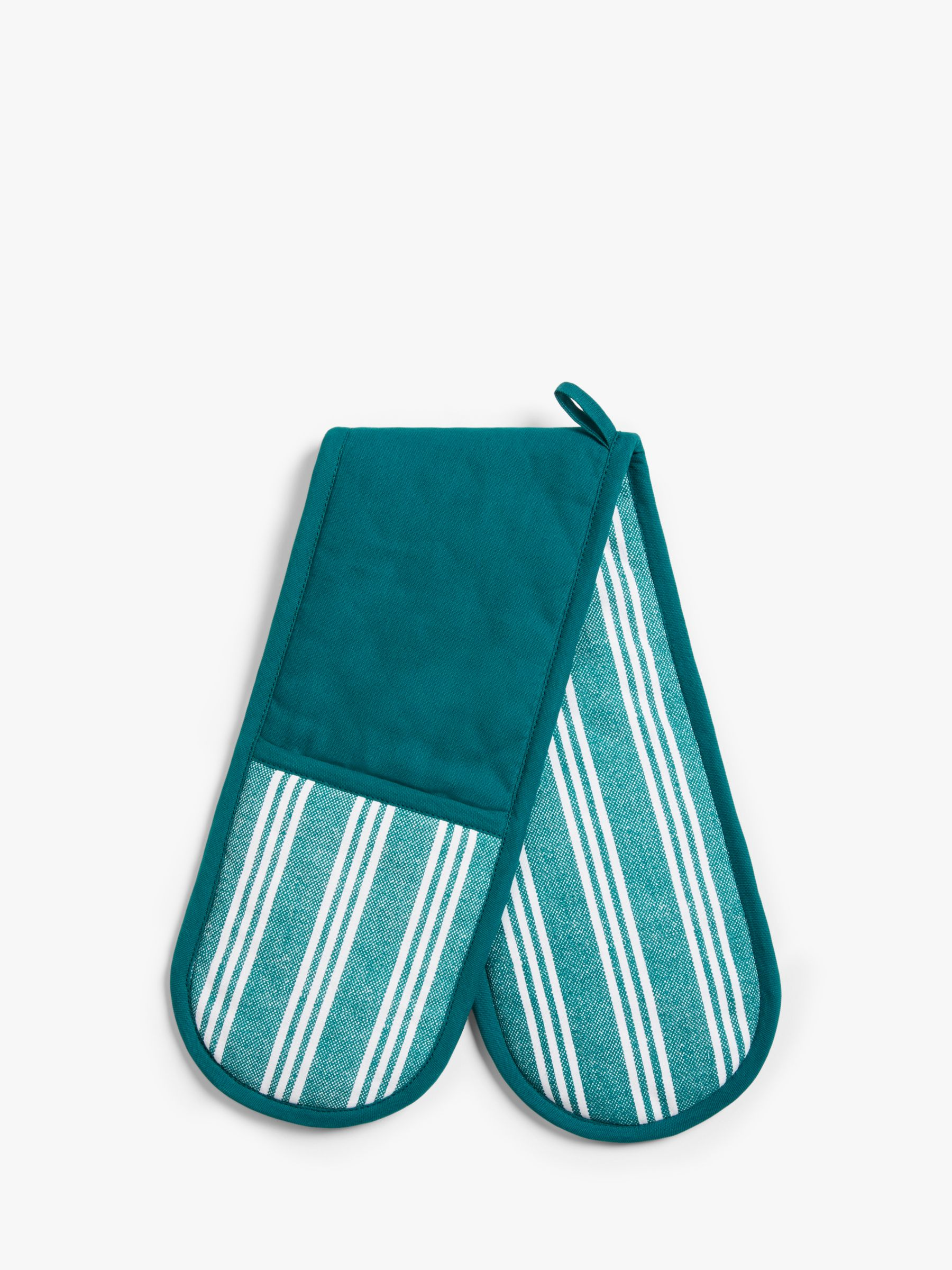 John Lewis & Partners Striped Cotton Double Oven Glove, Teal