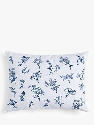 ANYDAY John Lewis & Partners Embroidered Flower Boudoir Cushion, White/Blue