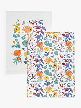 John Lewis & Partners Spring Baking Floral Print Cotton Tea Towels, Pack of 2, Multi