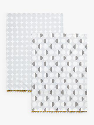 ANYDAY John Lewis & Partners Simple Spot Print Cotton Tea Towels, Pack of 2, Grey