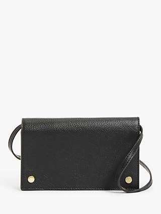 John Lewis & Partners Leather Phone Cross Body Bag, Black