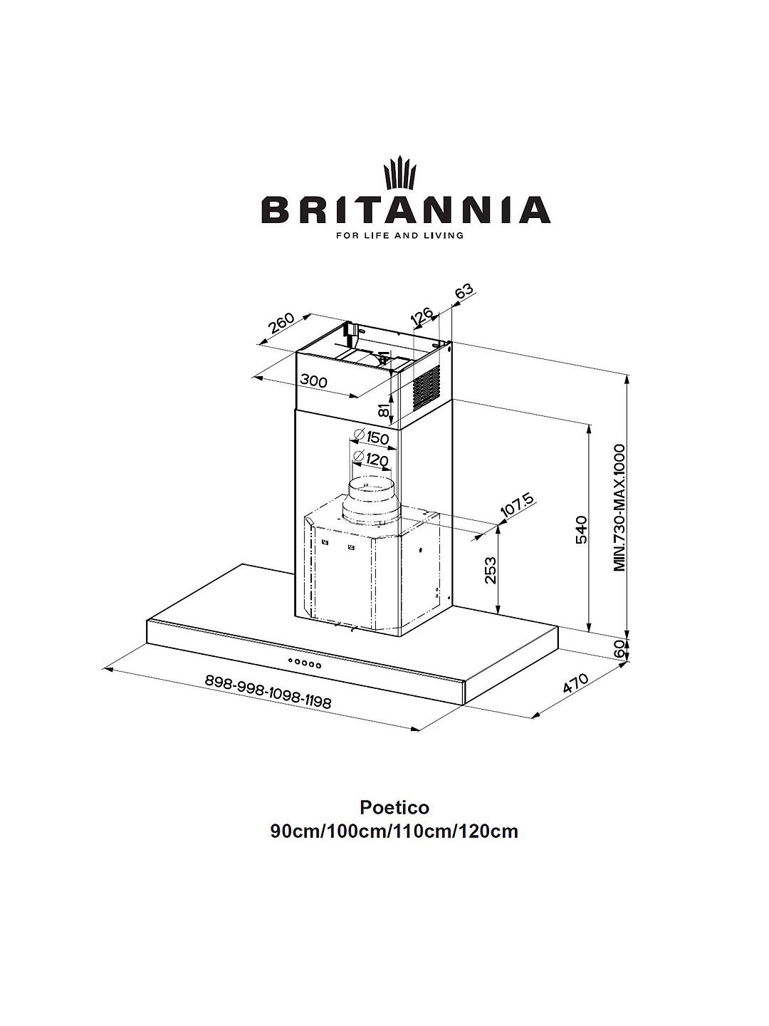 Buy Britannia Poetico 100cm Chimney Cooker Hood, A+ Energy Rating, Stainless Steel Online at johnlewis.com