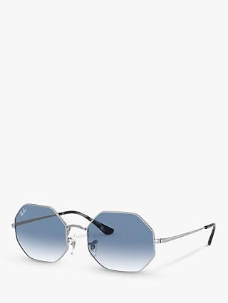 Ray-Ban RB1972 Unisex Octagonal Sunglasses, Silver/Blue Gradient