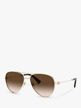 Valentino VA2034 Women's Aviator Sunglasses, Gold/Brown Gradient