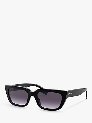Burberry BE4321 Women's Rectangular Sunglasses, Black/Grey Gradient