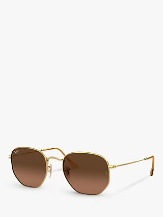 Ray-Ban RB3548N Unisex Hexagonal Sunglasses, Gold/Brown Gradient