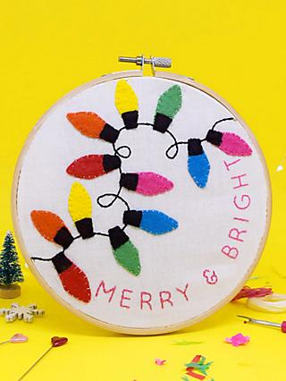 The Make Arcade Merry and Bright Embroidery Hoop Kit