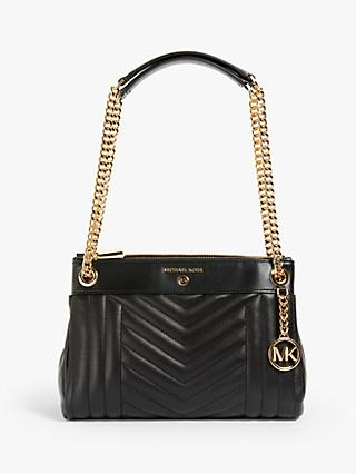 MICHAEL Michael Kors Susan Small Quilted Leather Shoulder Bag, Black