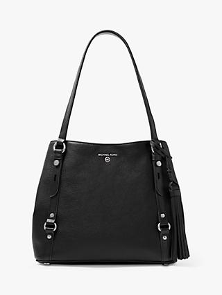 MICHAEL Michael Kors Carrie Large Leather Tote Bag, Black