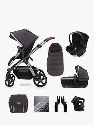 Silver Cross Wave 2020 Simplicity Plus 10 Piece Pushchair and Carrycot Bundle, Charcoal