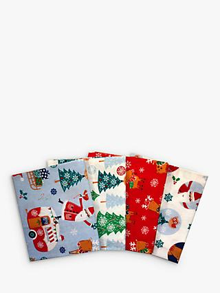 Visage Textiles Santa and Reindeer Printed Fat Quarter Fabrics, Pack of 4, Multi