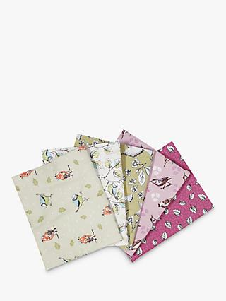 Visage Textiles Garden Birds Printed Fat Quarter Fabrics, Pack of 5, Multi