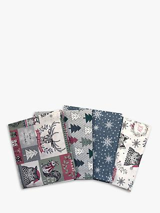 Visage Textiles Woodland Printed Fat Quarter Fabrics, Pack of 4, Multi