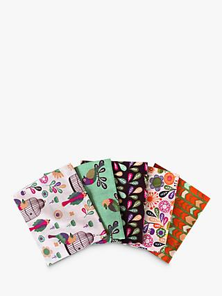 Visage Textiles Meadow Birds Printed Fat Quarter Fabrics, Pack of 4, Multi