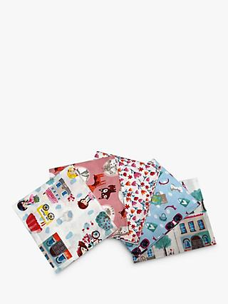 Visage Textiles Meadow Girls Day Printed Fat Quarter Fabrics, Pack of 4, Multi