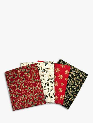 Visage Textiles Traditional Holly Printed Fat Quarter Fabrics, Pack of 4, Multi
