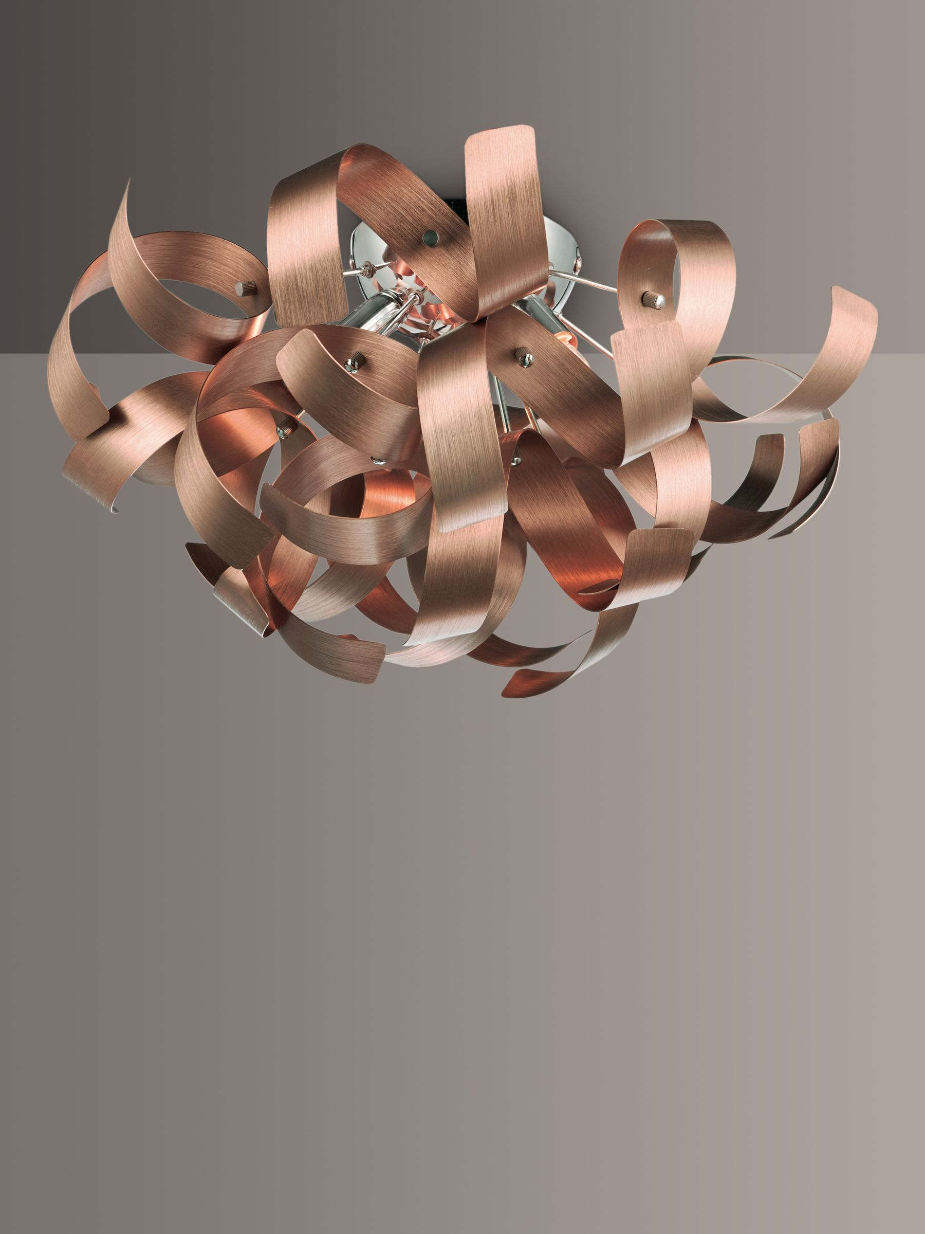 Picture of: Dar Rawley Ribbon Semi Flush Ceiling Light Brushed Copper At John Lewis Partners