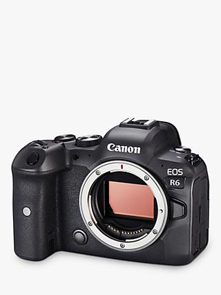"Canon EOS R6 Compact System Camera, 4K Ultra HD, 20.1MP, Wi-Fi, Bluetooth, OLED EVF, 3"" Vari-Angle Touch Screen, Body Only"