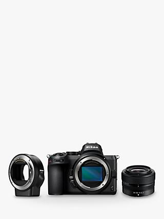 "Nikon Z5 Compact System Camera with 24-50mm Lens, 4K UHD, 24.3MP, Wi-Fi, Bluetooth, OLED EVF, 3.2"" Tiltable Touch Screen & FTZ Mount Adapter"