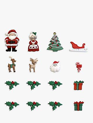 Dress It Up Santa Themed Buttons, Pack of 18, Multi