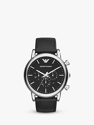 Emporio Armani AR1828 Men's Chronograph Date Leather Strap Watch, Black