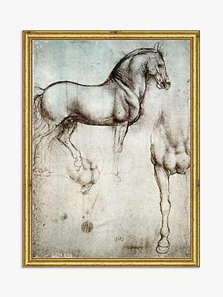 Leonardo da Vinci - Study of Horse Wood Framed Print, 21 x 16cm, Natural/Gold