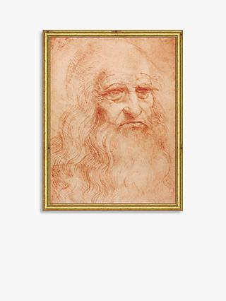 Leonardo da Vinci - Portrait of a Man Wood Framed Print, 26 x 19cm, Red/Gold