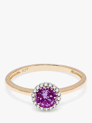 A B Davis 9ct Gold Amethyst and Diamond Engagement Ring, Gold