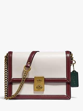 Coach Hutton Leather Shoulder Bag, Chalk/Multi