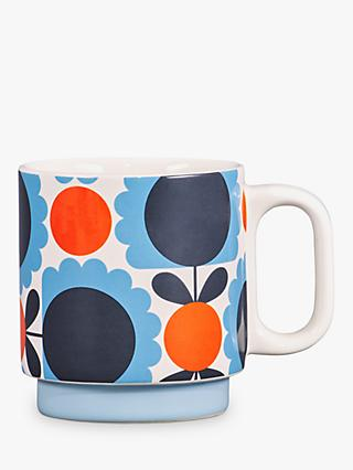 Orla Kiely Scallop Flower Mug, 330ml, Sky Blue