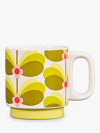 Orla Kiely Butterfly Stem Mug, 330ml, Green/Yellow