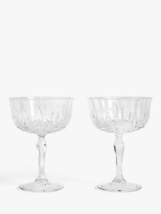 John Lewis & Partners Paloma Opera Cut Crystal Glass Coupe Glasses, Set of 2, 245ml, Clear