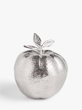 John Lewis & Partners Metal Apple Sculpture, H19cm, Silver