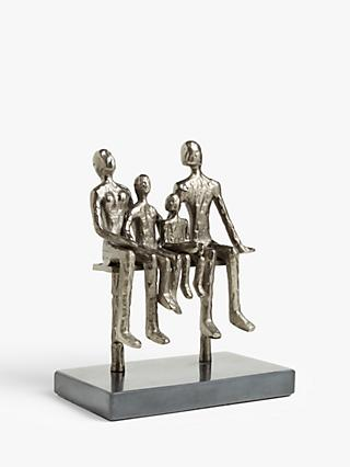 John Lewis & Partners Sitting Family of 4 Metal Sculpture & Marble Base, H26.5, Black Nickel
