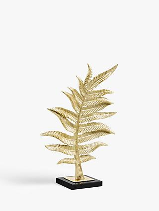 John Lewis & Partners Leaf Sculpture, H44cm, Gold