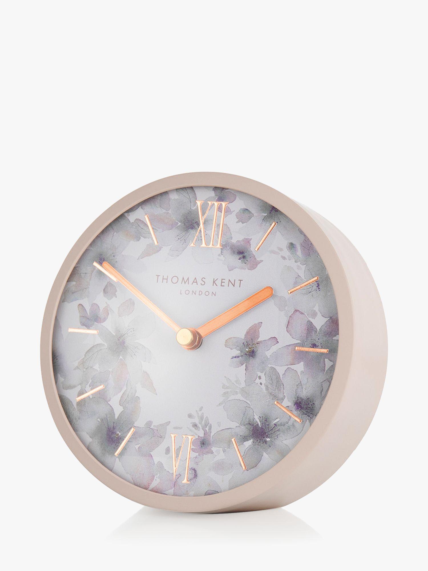 Thomas Kent Mini Crofter Flower Analogue Mantel Clock, Dusty Pink