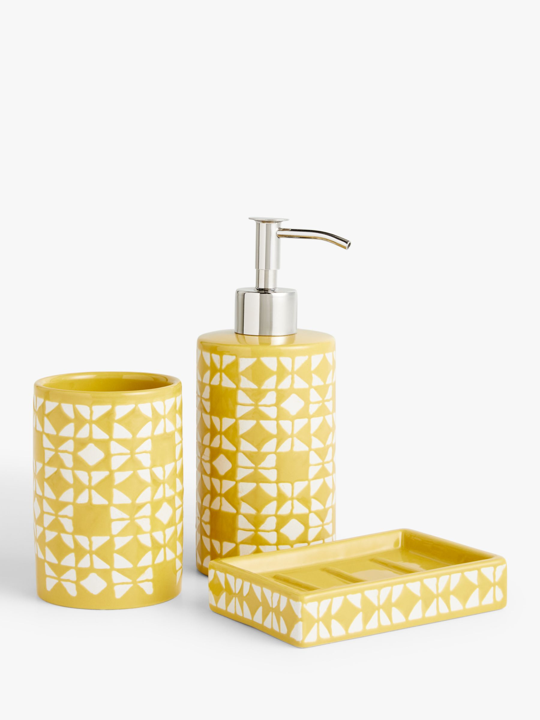 John Lewis Partners Geo Bathroom, Yellow And Grey Bathroom Accessories