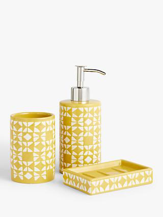 John Lewis & Partners Geo Bathroom Accessories Set, Yellow