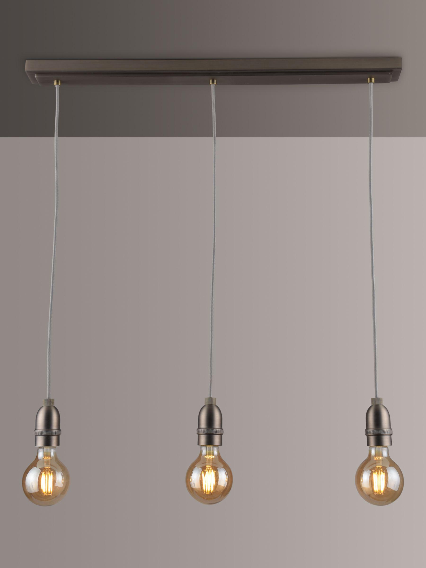 John Lewis & Partners Bistro Spoke 3 Pendant Diner Ceiling Light, Antique Pewter