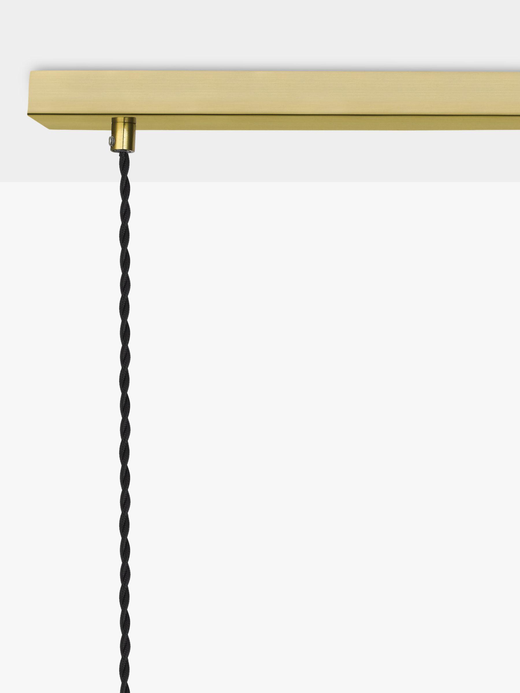 John Lewis & Partners 3 Glass Pendant Diner Ceiling Light, Clear/Brass