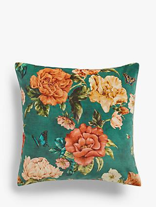 Sanderson National Trust Summer Peony Velvet Cushion, Newby Green