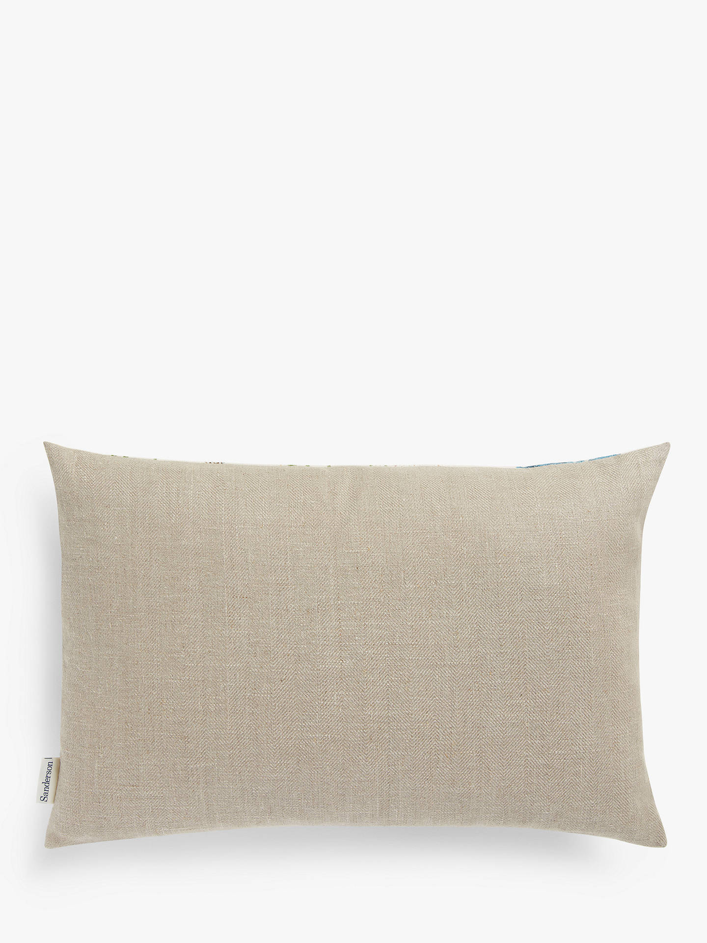 Buy Sanderson National Trust Kingfisher Cushion, Azure / Linen Online at johnlewis.com